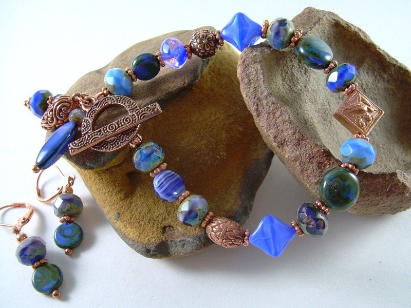 Blue Winter - Picasso & Copper Bead Bracelet