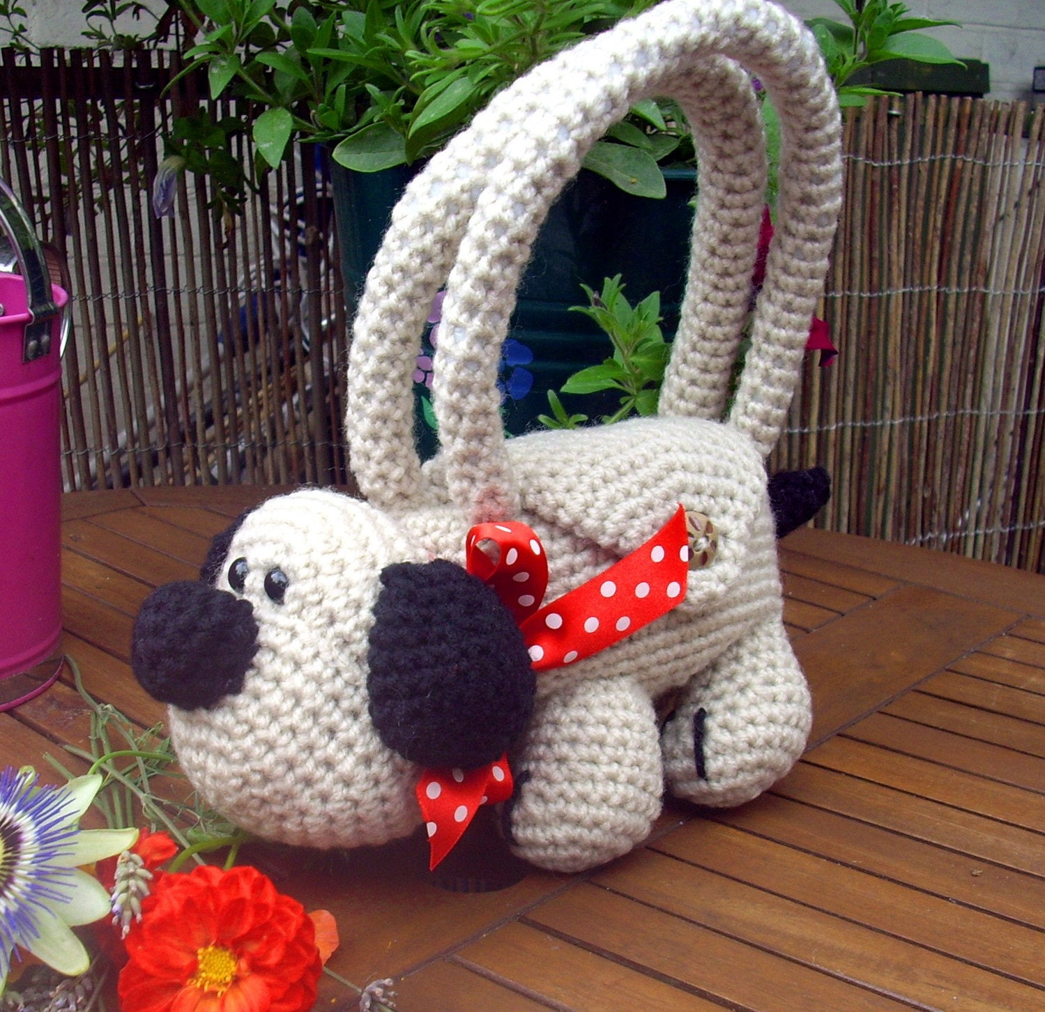 Crochet Animal Bag Free Pattern : Crochet Animal Bag Roger the Dog SALE ITEM Childrens by ...