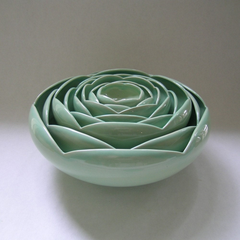 Eight Nesting Ranunculus Rose Flower Ceramic Bowls in Green