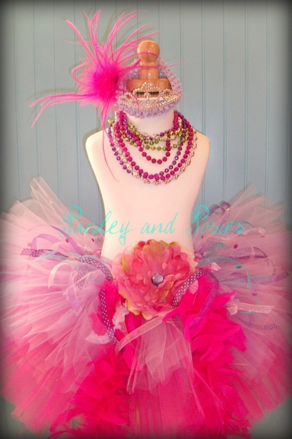 ALL NEW - Fancy Nancy Inspired Dress Up Tutu - Sizes Newborn up to 6 - Includes Headband and Tiarra - Customizable Colors - Great for Valentines Day Parties