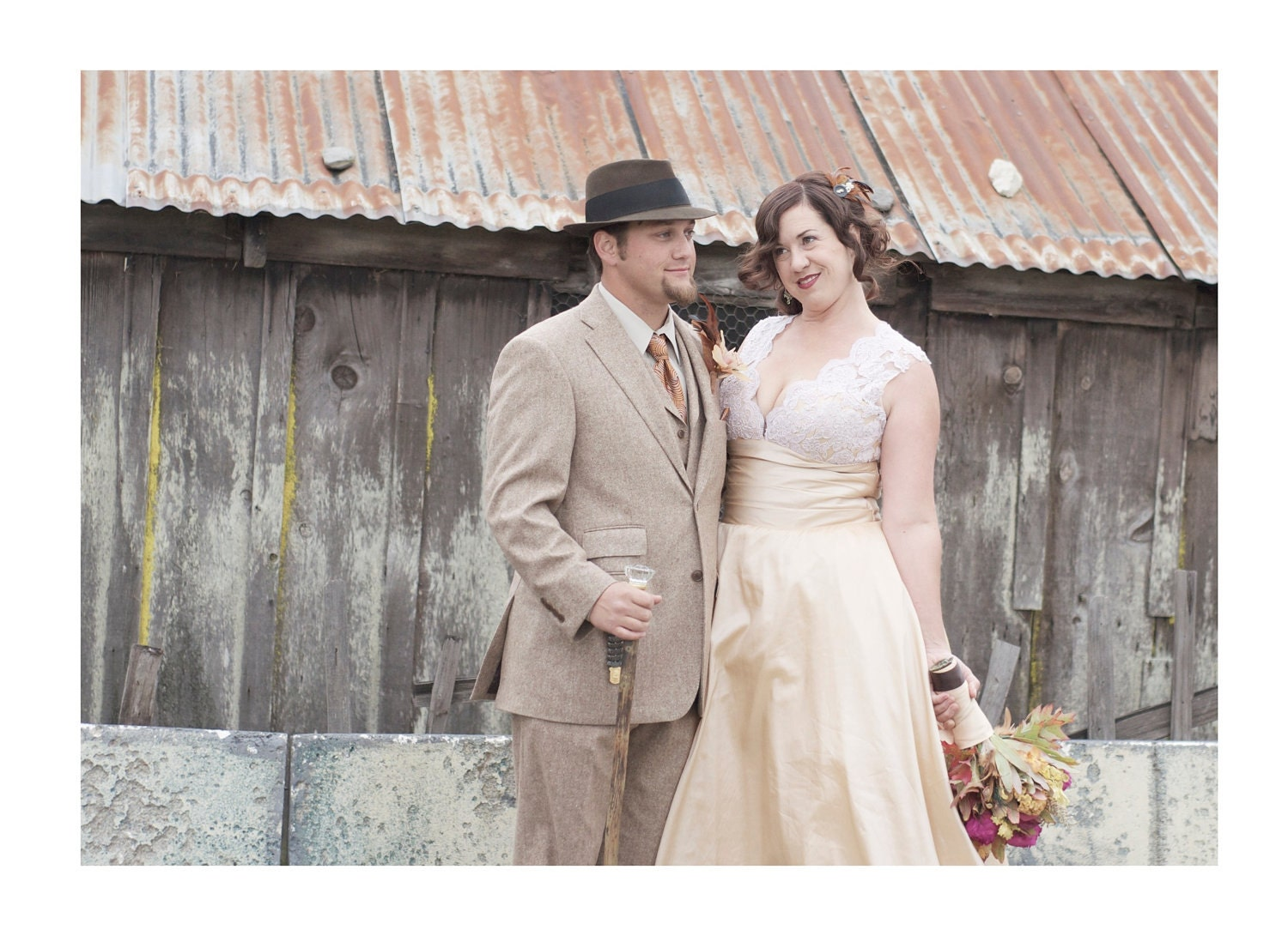 Tea Length Wedding Dress - Lace Bodice with Covered Buttons