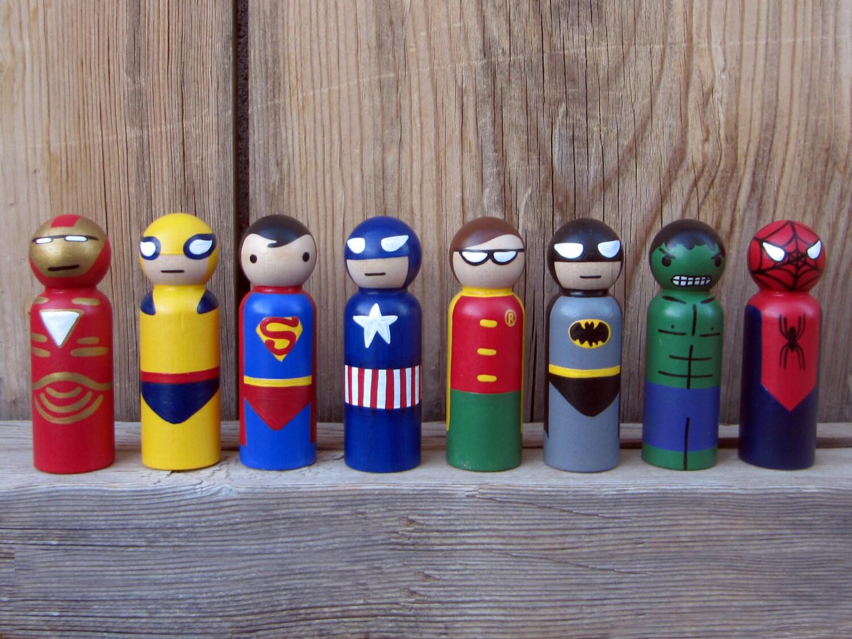 Superhero Peg People - Peg Buddies Etsy Shop