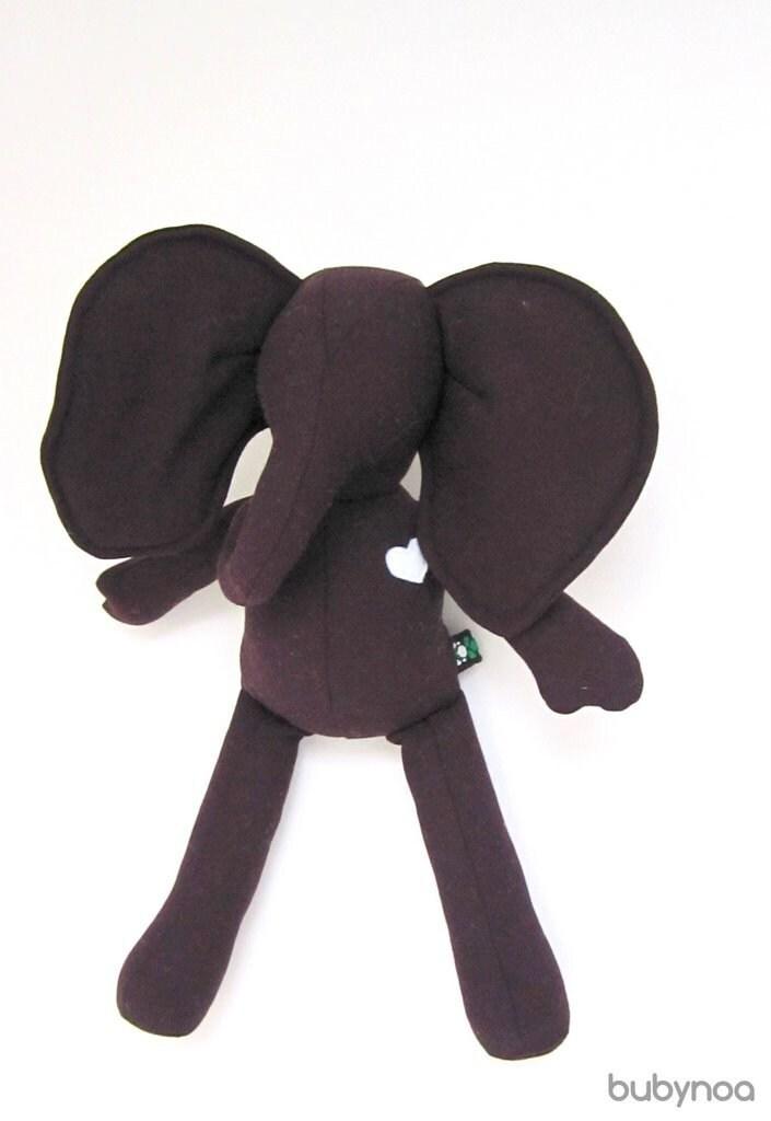 Small Elephant doll eco friendly upcycled wool soft Dark purple Eggplant handmade heirloom Christmas present bubynoa Best Friend - bubyNoa