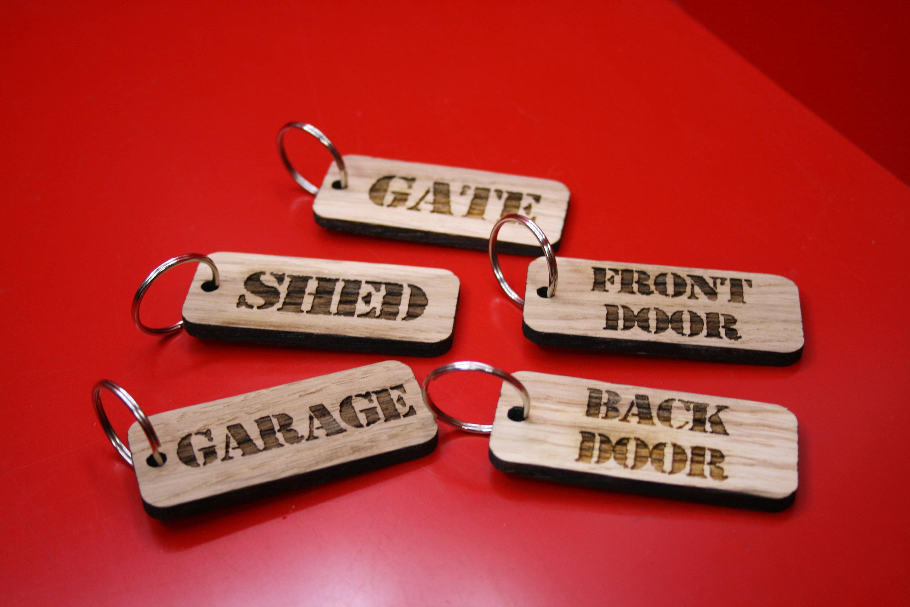 Laser Engraved Oak Keyrings With Nickel Ring Shed Garage Gate Back Door Front Door