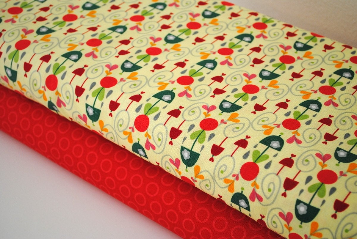 Rainy Days and Mondays Yellow Damask and Red Cheery Dots by Riley Blake 1 yard set of 2