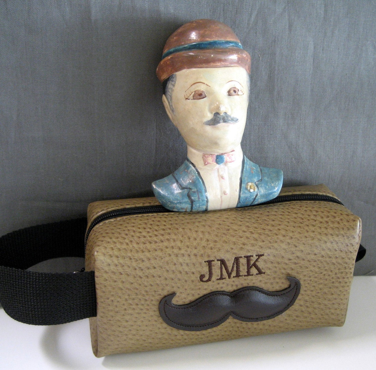 Mr Mustache Personalized Shaving Bag for Groomsmen Featured in BRIDES MAGAZINE