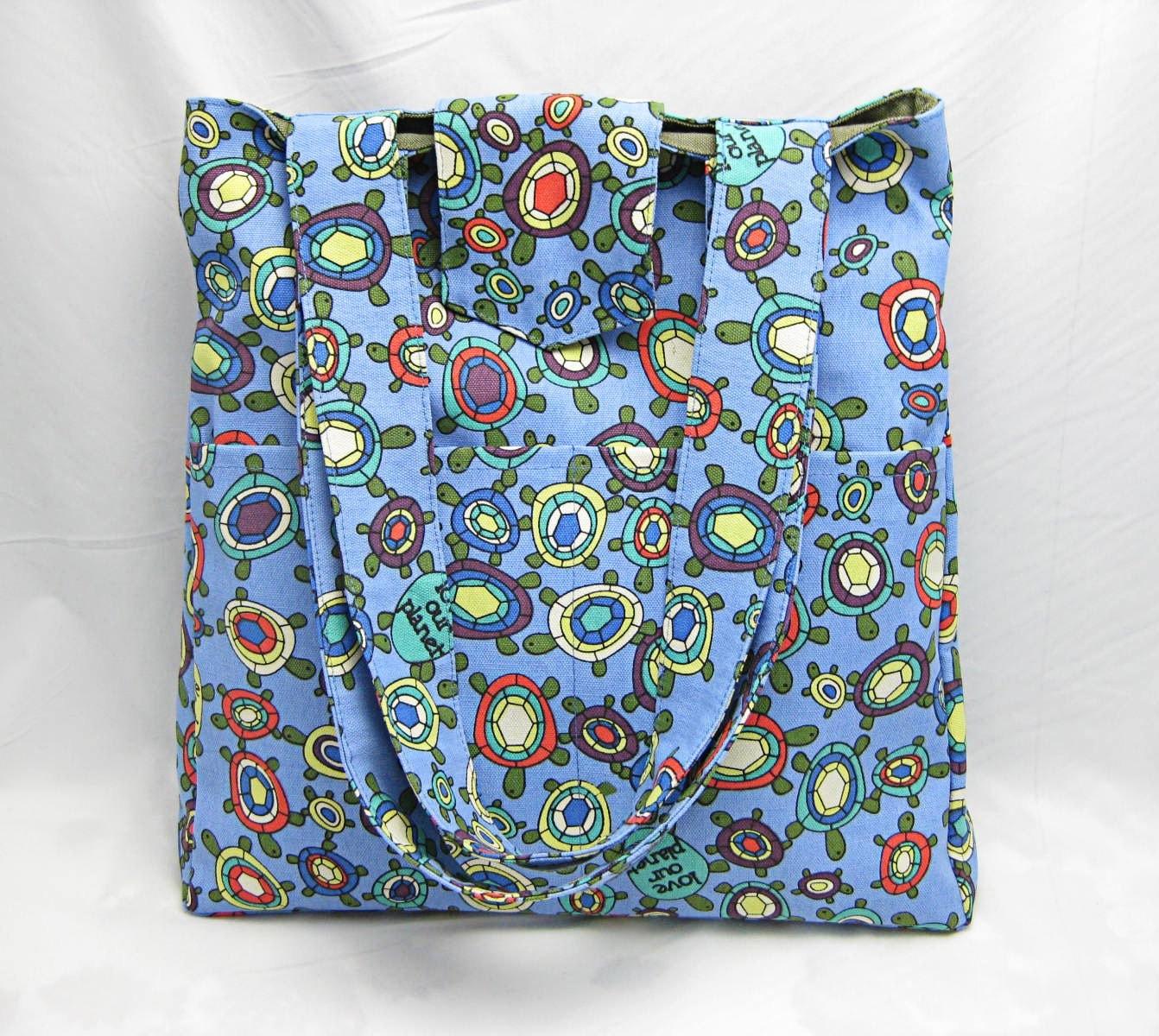 ON SALE Blue canvas tote bag zippered inner pocket-tortoises