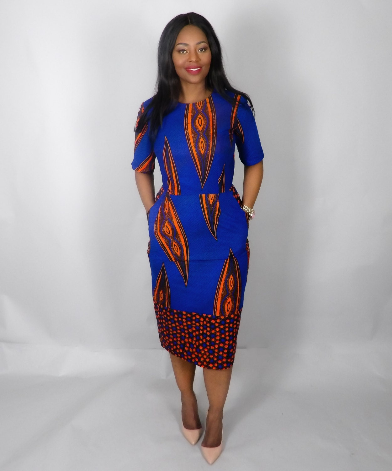 SALE NEW IN African mixed print fitted dressAfrican clothingAnkaraAfrican dresseswax print dress