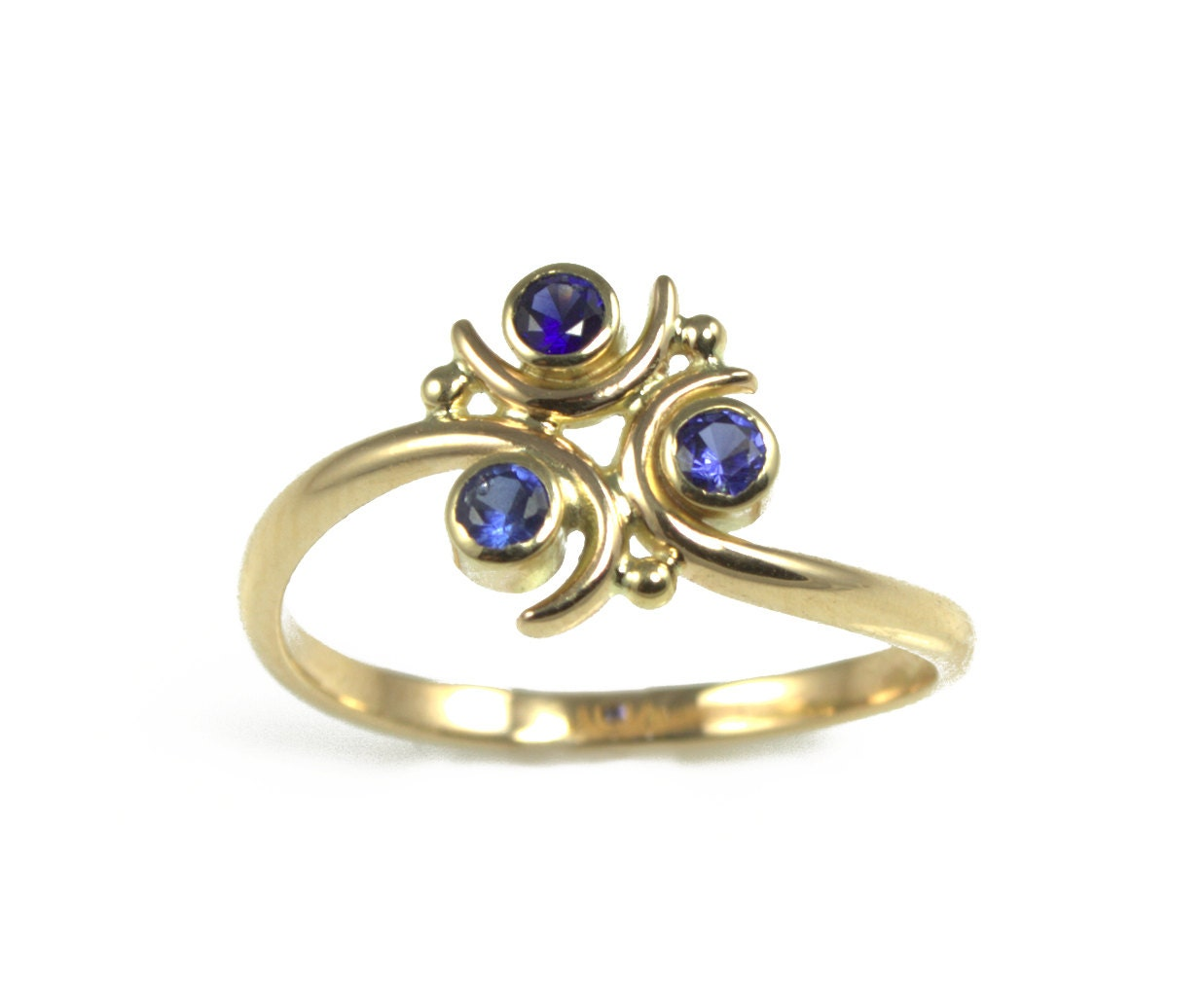 Zora Sapphire Engagement Ring In 14k Gold Back By Alchemyhouse