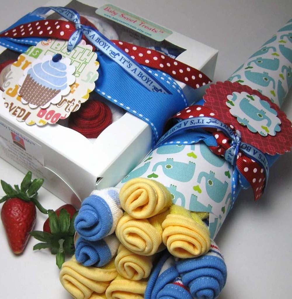 Onsie Cupcakes and Washcloth Flowers