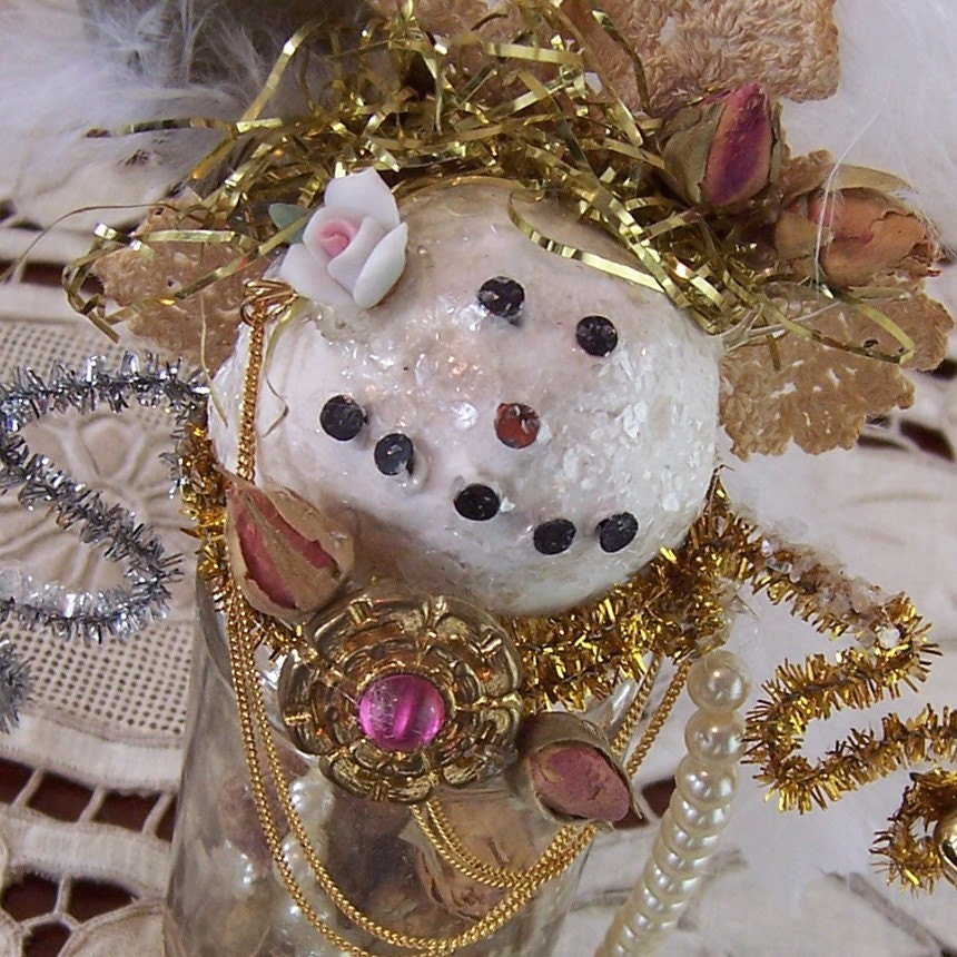Snow Lady Folk Art Ornament