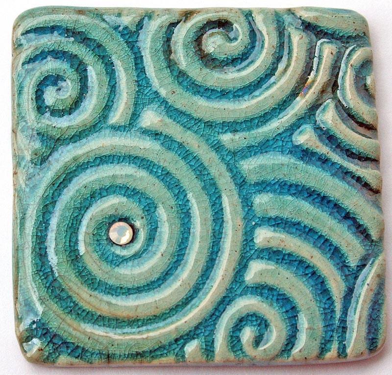 RAKU Fired Ceramic Cabochon in Blue