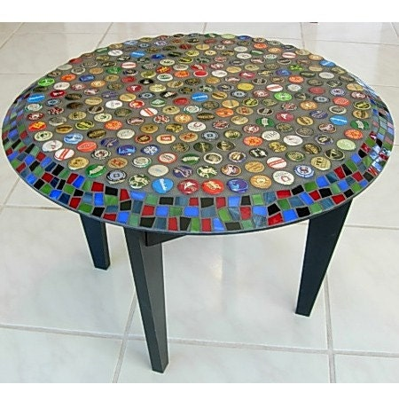 Beer Caps And Stained Glass Mosaic Table By Lizmessermosaics