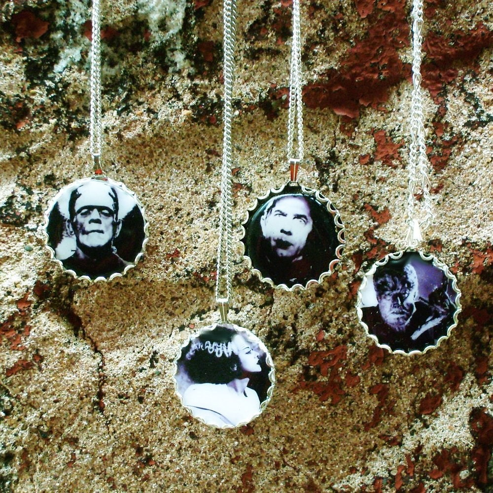 Vintage Horror Movie Bride of Frankenstein Necklace