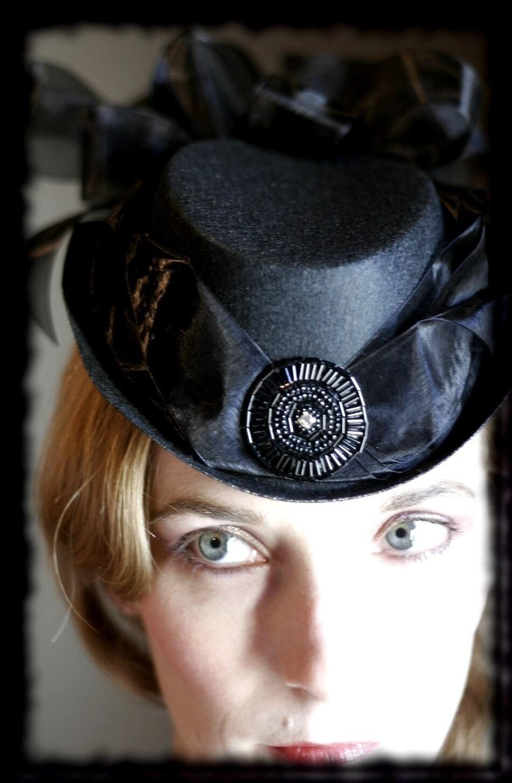 GORGEOUS Victorian BELLE EPOCHE Black Gothic Strutter hat