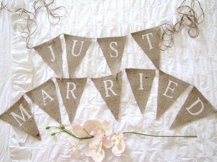JUST MARRIED Glittered Burlap Banner