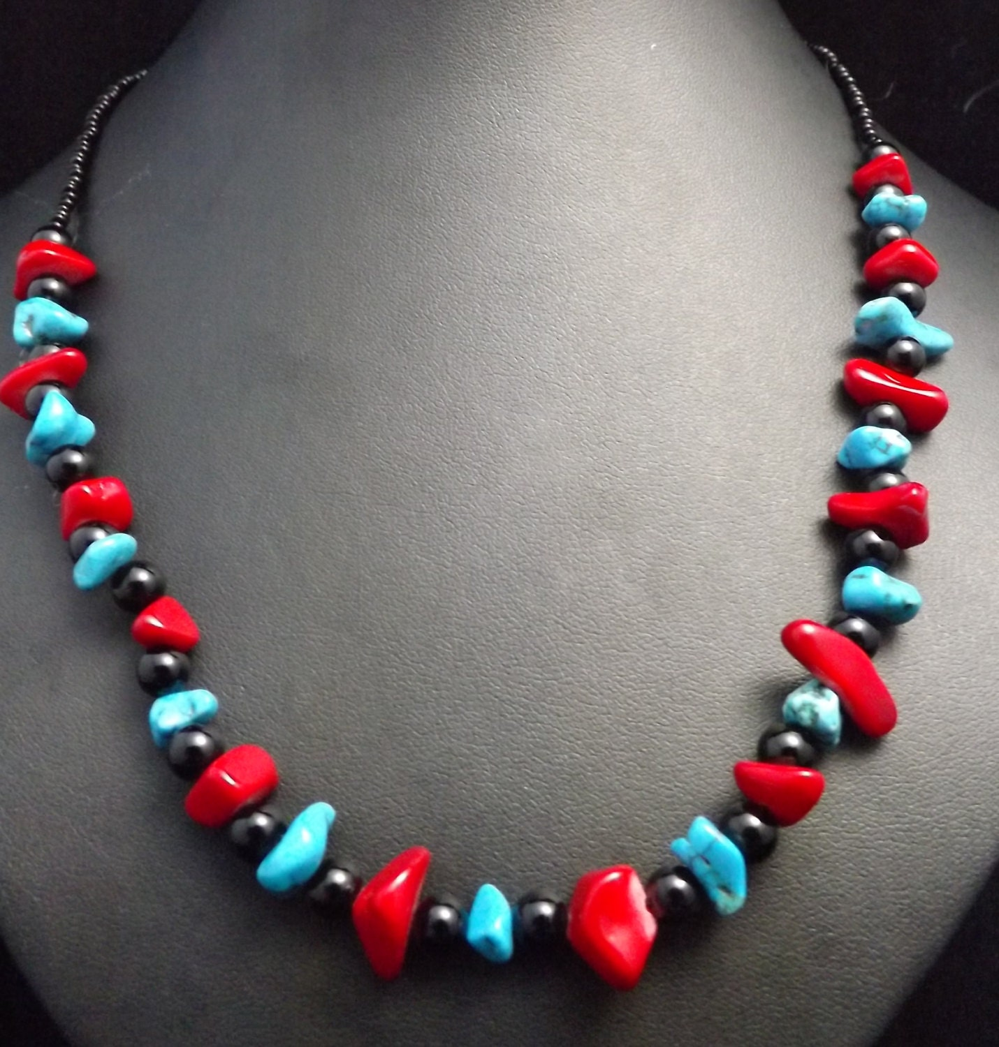 Red Jasper Turquoise Obsidian semi precioussemi precious stone valentine Day  gemstone necklacewedding jewellery hippie necklace