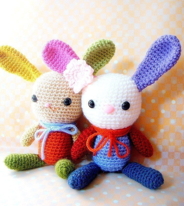 Etsy Amigurumi Bunny : Amigurumi bunny pattern Rainbow Bunny Crochet by TGLDdoll