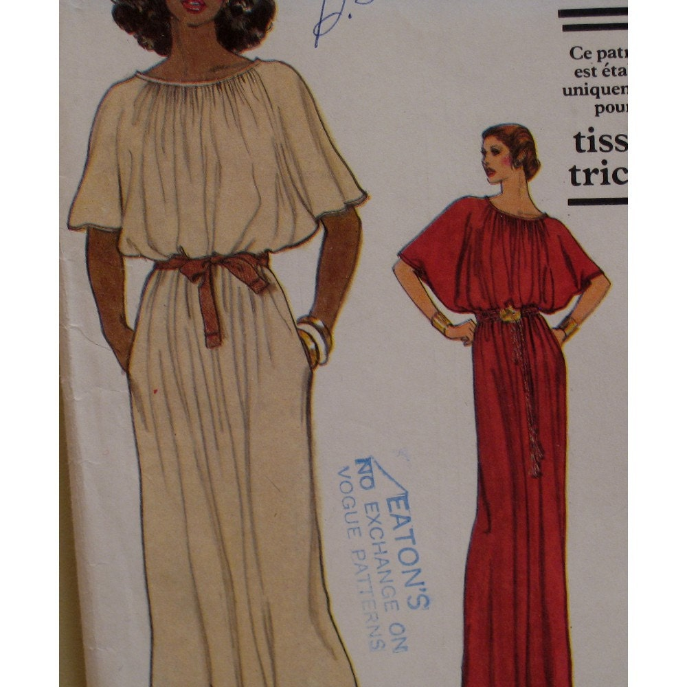 Blouson Dress Pattern Pullover Dolman Sleeves Knit by VogueVixens