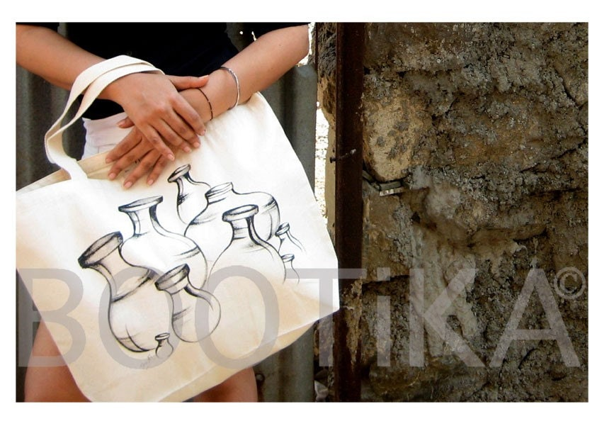 Handpainted Tote Bag with Matkas (Indian Pots)
