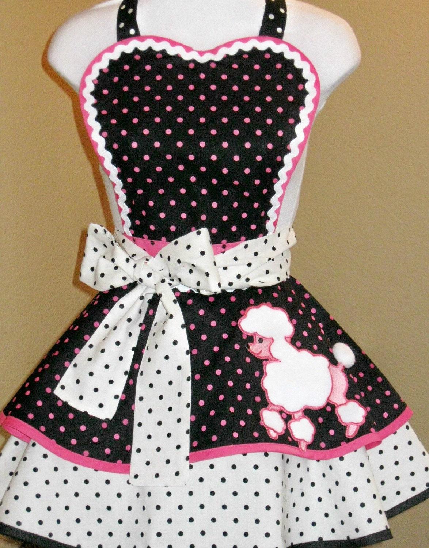 50s Retro Polka Dot Poodle Skirt Apron Costume