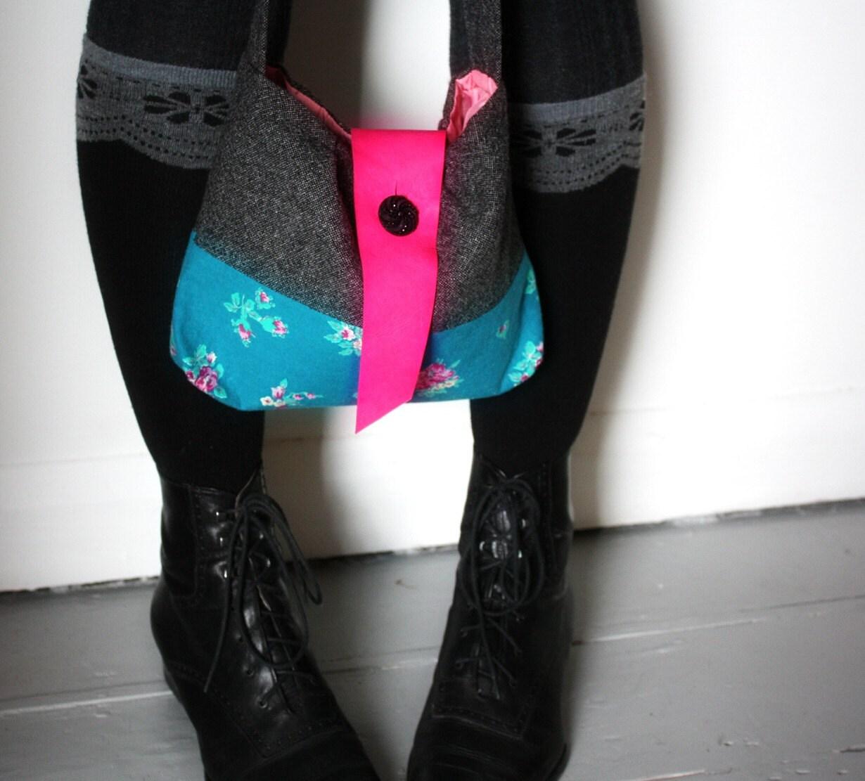 Dash - purse grey tweed bag teal 50s vintage fabric pink leather