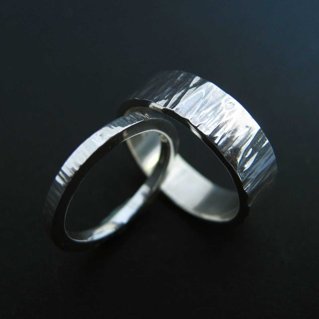 river rings modern hammered sterling silver promise by erga