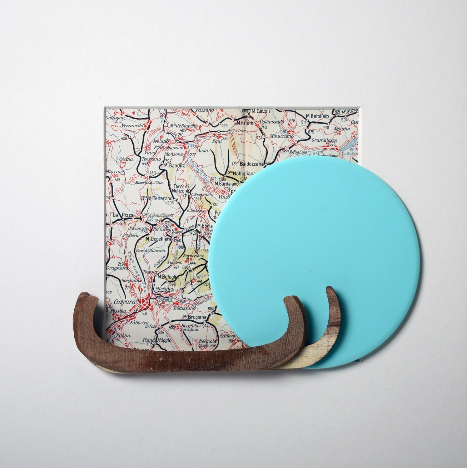 Square white box frame with vintage Italian map, hard wood and round plastic disc (mixed media). ''The Italian Job''. - madebymanos