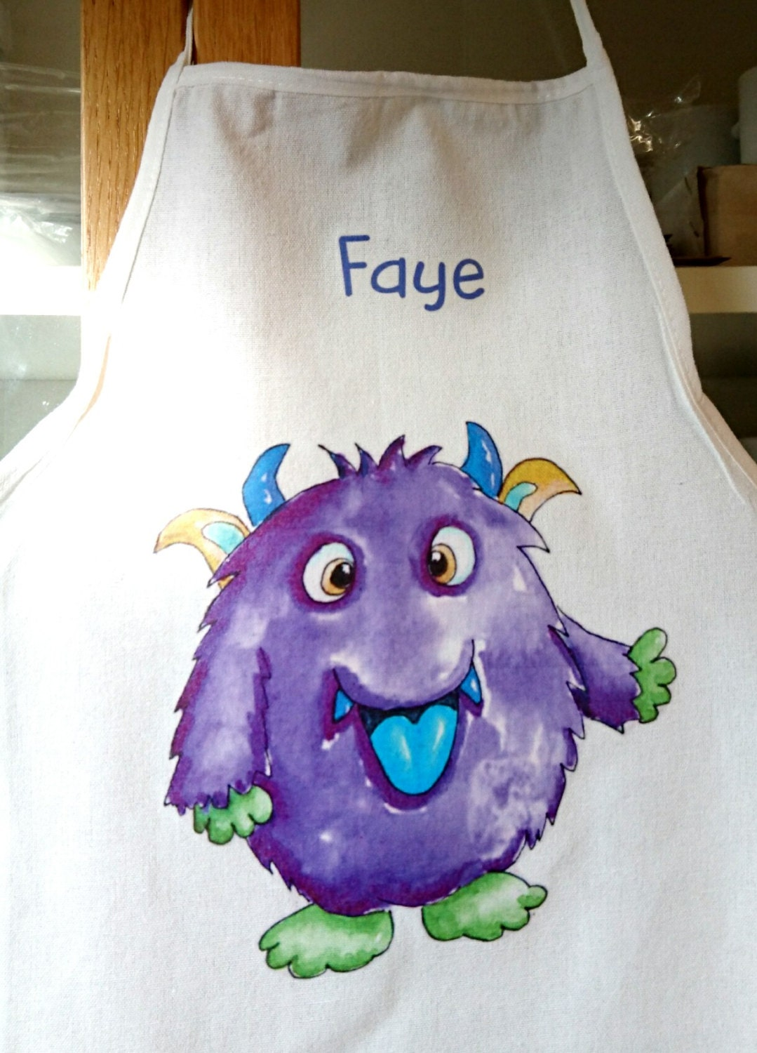 Personalised Childs Apron Monster Apron Childs Apron Childs Gift Girls Apron Personalized Kid apron Toddler Present