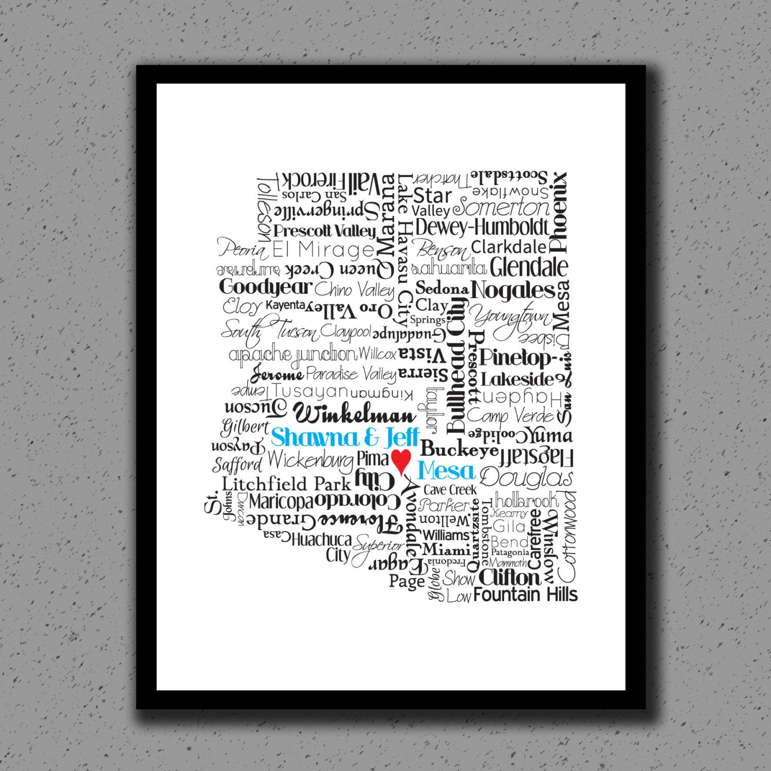 Arizona State Print, AZ, State Art, State Map, Wedding, Personalized, Print, Custom, Cities, City, Housewarming Gift, Phoenix, Glendale