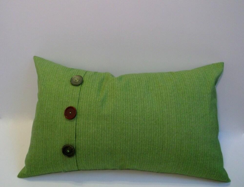 Green button lumbar pillow cover 3 button accent by ShadoBox