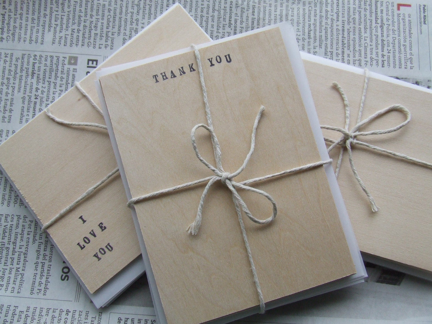 THANK YOU wood stationery set of five note cards and envelopes by Paloma's Nest