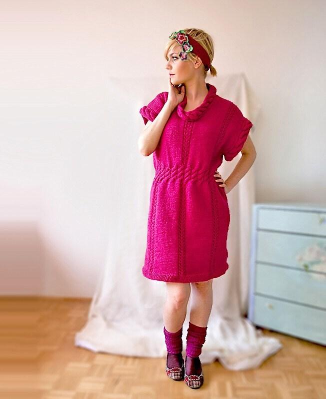 Fashion Fuchsia Knitted Minidress