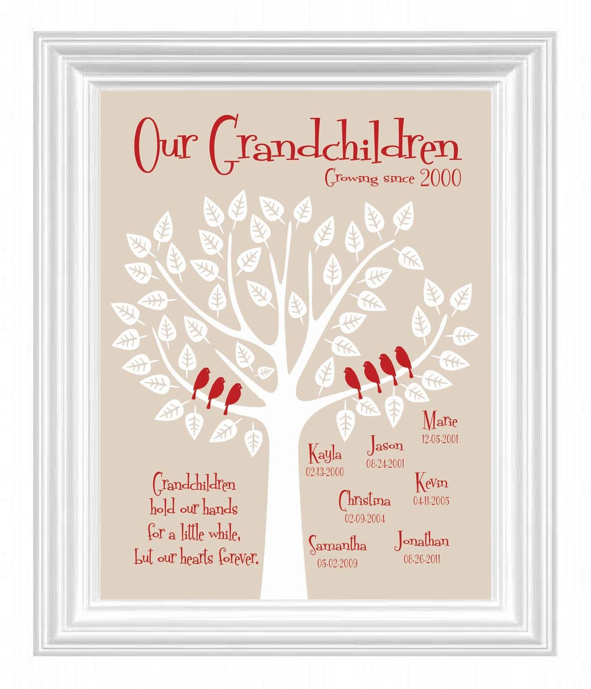 Grandchildren family tree with grandkid 39 s by for Family tree gifts personalized