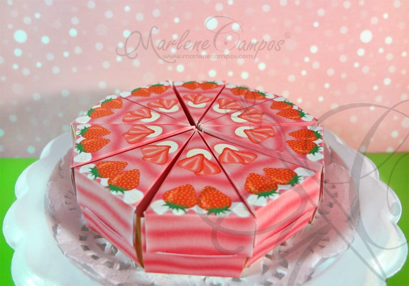 Strawberry Cake Images Download : Instant Download Strawberry Slice Cake Box by PaperArtbyMC