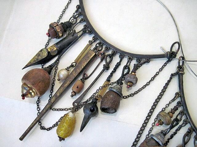 Hypatia.  Rustic Gypsy Tribal Victorian Assemblage Hoops.