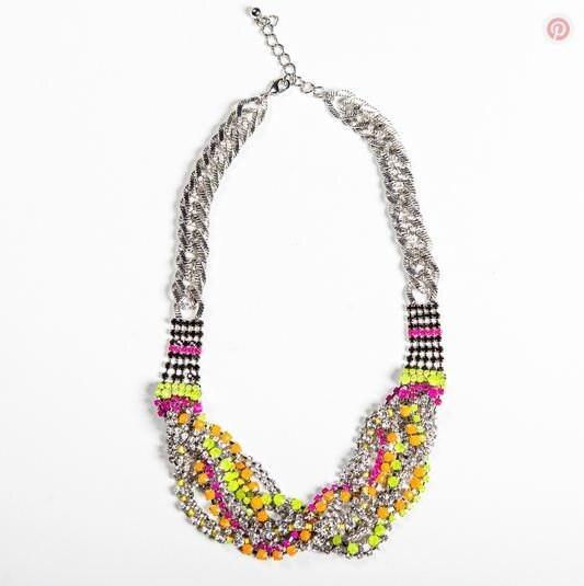 Gorgeous Braided Aztec Crystal Thread Wrapped Bib