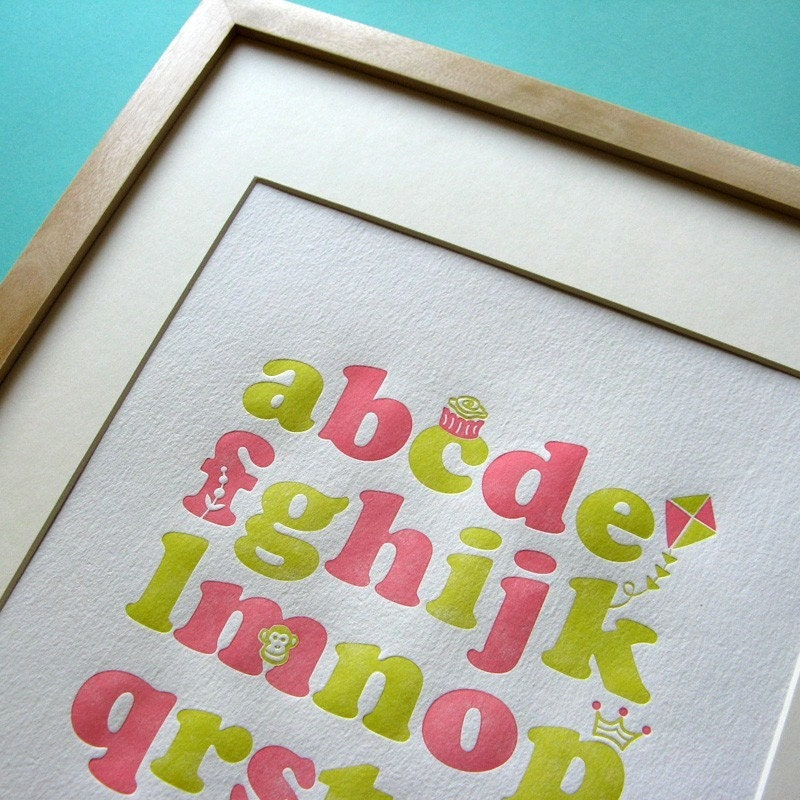 Letterpress kids wall art - alphabet in green and pink