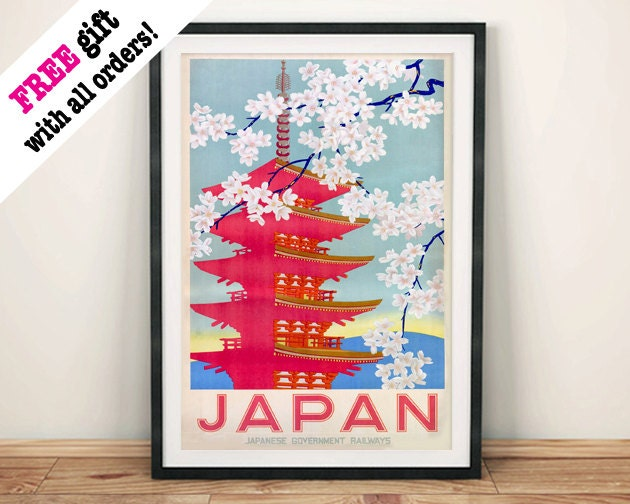 JAPANESE TEMPLE POSTER Vintage Pink Japan Cherry Blossom Advert Art Print Wall Hanging