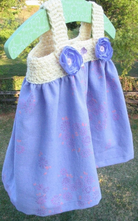 Baby  summer dress for 6 to12 month old in lavender and yellow cotton