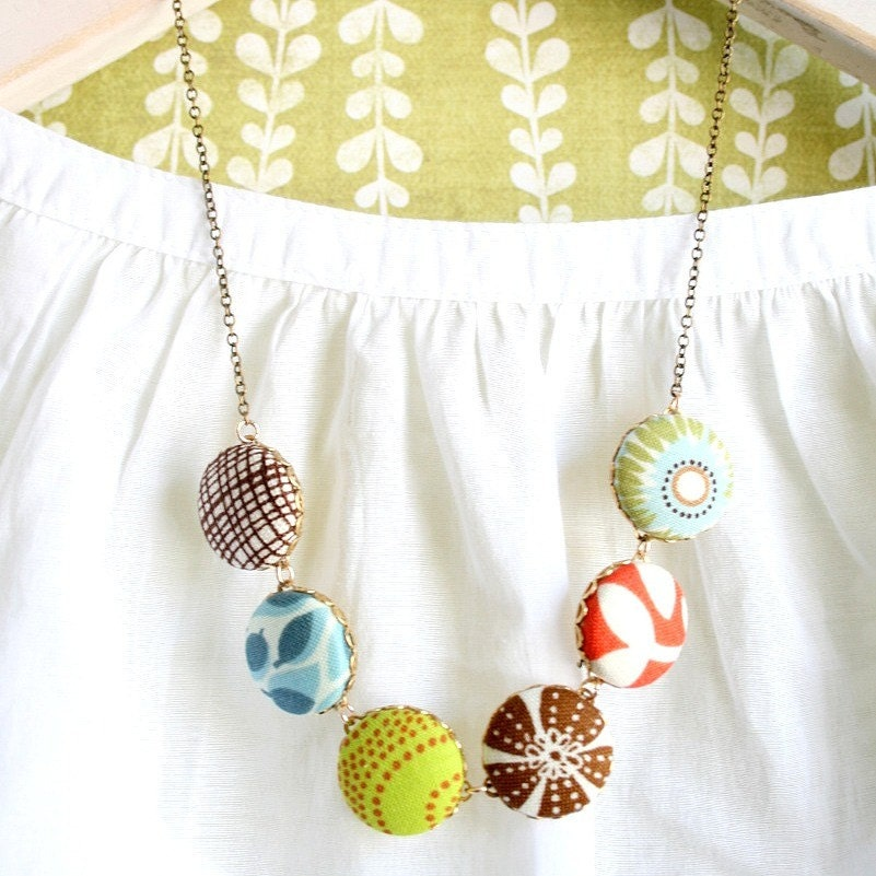 Modern Up Cycled Textile Button Necklace - NestPrettyThingsShop