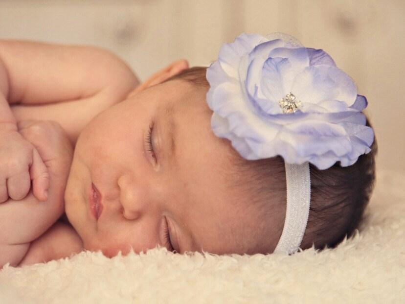Summer Sale - 20% OFF - Baby Headband - Rinestone Flower on Thin Headband - Flower Headband