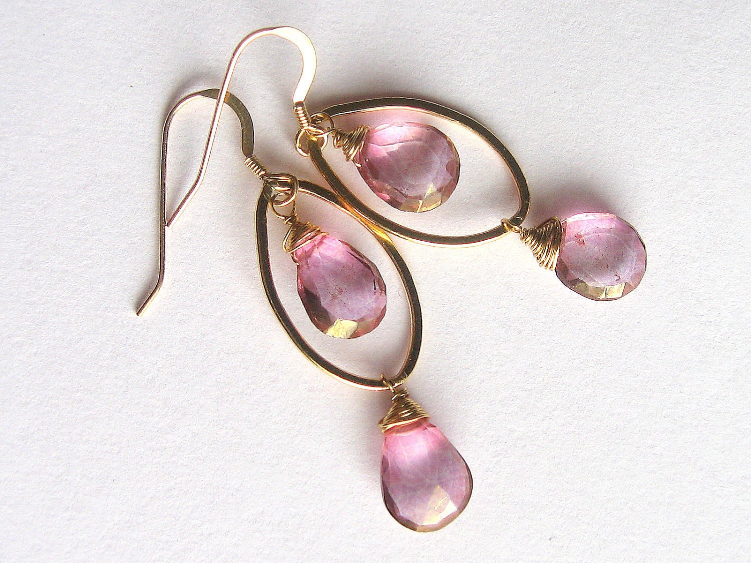 Pink Quartz Teardrop Earrings, Gold Fill, Mystic Quartz