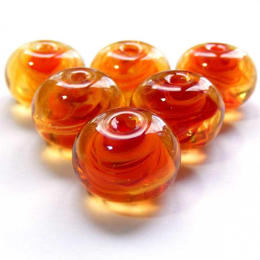 Handmade lampwork bead - set of 6 very orange lampwork beads - SoozBeads