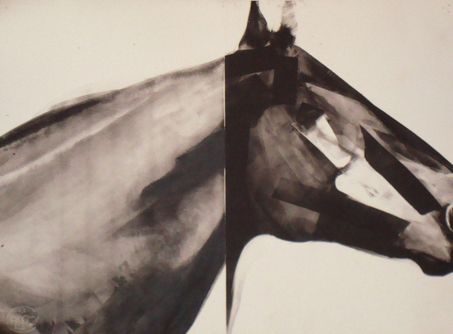 Horse of Course Monotype Print