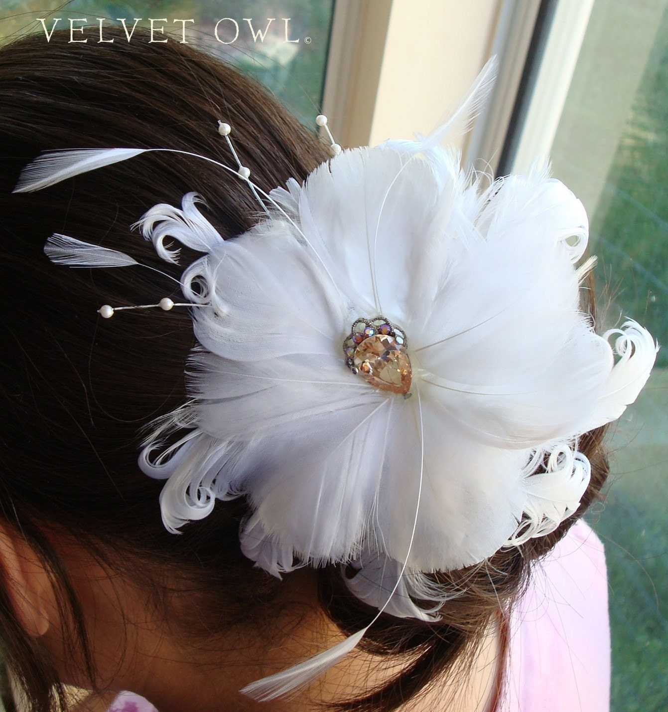 ISABELLA-Off white flower feather fascinator