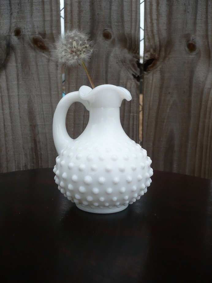 Vintage Hobnail Milk Glass Cruet