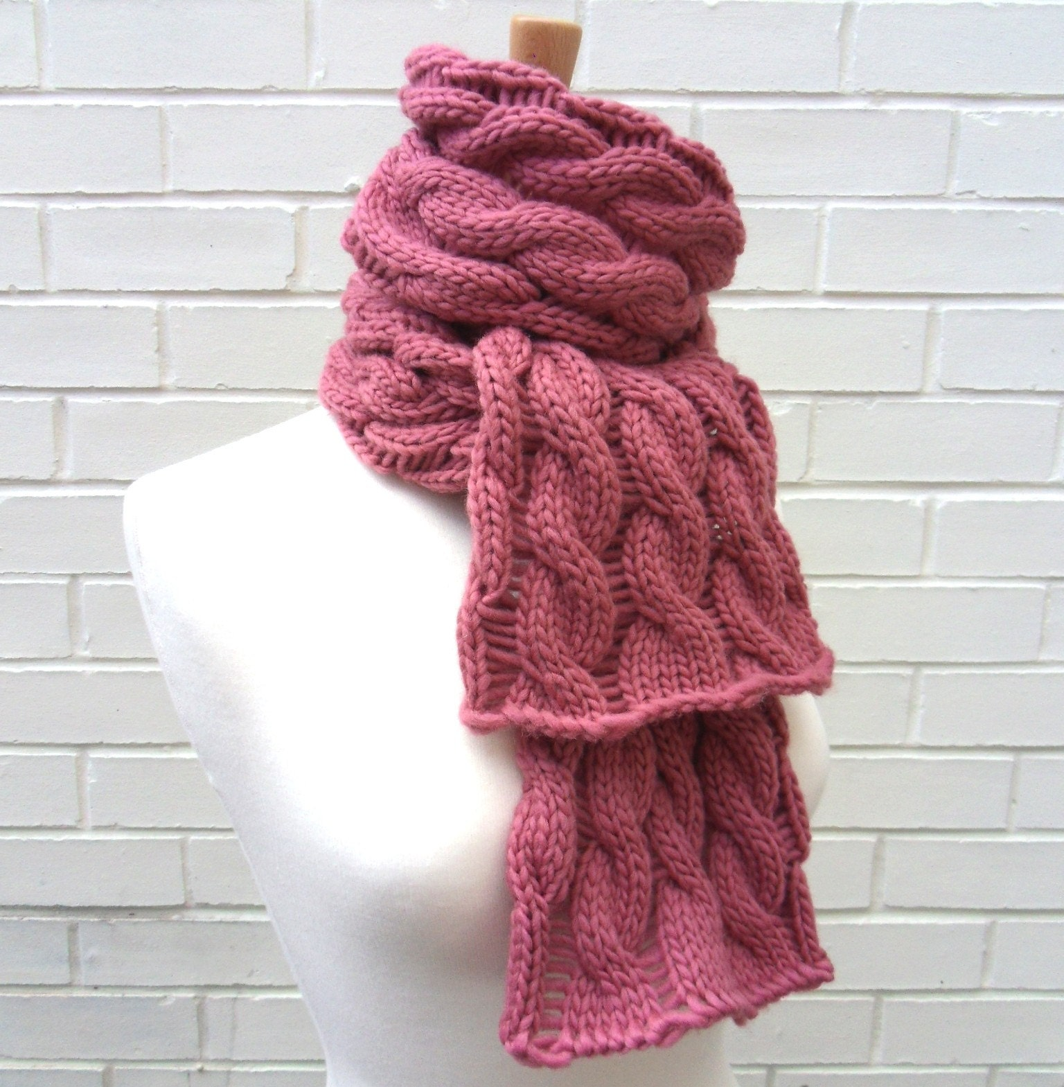 Chunky Pink Cable Scarf