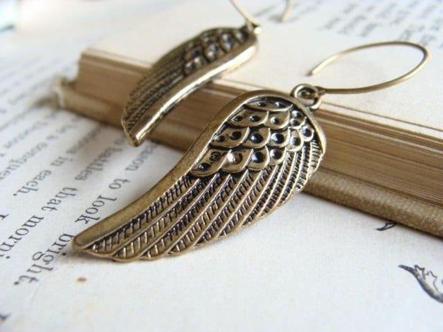 Antique Brass Wings. Earrings