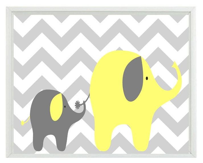 Elephant Chevron Nursery Wall Art Print - Yellow Gray Decor - Mother Baby Children Kid Room - Wall Art Home Decor 8x10 Print